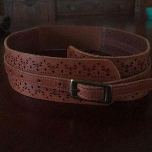 Anthropologie Linnea Pelle chestnut leather belt